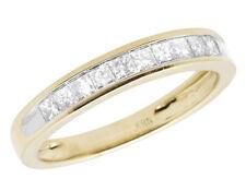 10k Oro Amarillo Invisible Princesa Anillo de Compromiso con Diamante Banda