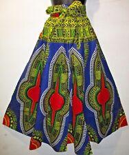 Pant Fit L XL 1X 2X Africa Wax Cotton Blue Red Wide Leg NWT Palazzo & Head Wrap