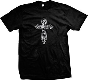 Cross Gothic Metallic Filigree Mens T-shirt