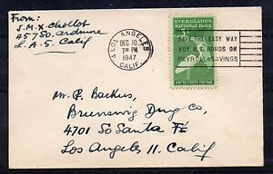 USA = 1947 Small Commercial Cover used locally in LOS ANGELES.