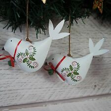 Pair Christmas Decorations Metal Birds Tin Hanging Red or White Doves Set 2