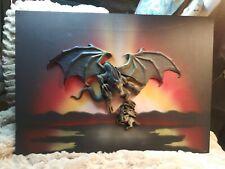 Medieval Fantasy Dragon in battle w/Knight 3-D Wall Decor on Canvas RARE