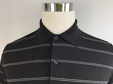 Greg Norman Men's Golf Polo Shirt S Small Blue White Striped Short Sleeve