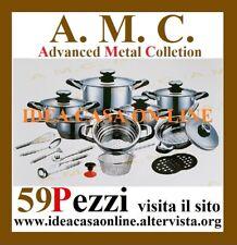 AMC PROFESSIONAL BATTERIA DI PENTOLE 59 PEZZI ACCIAIO INOX 18/10 NUOVA