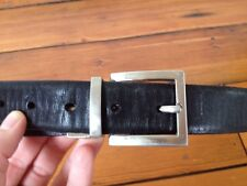 Florsheim Thick Black Leather Belt w/ Silvertone Solid Satin Nickel Buckle 36