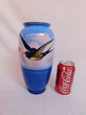 "HANDPAINTED PORCELAIN BIRD AND BUTTERFLY VASE 10"" TALL SIGNED BUDE"