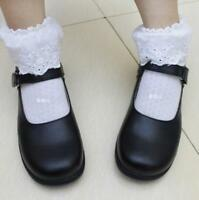 Women Sweet Lolita Round Toe Cosplay Maid Shoes School Mary Janes Flat Hot Shoes