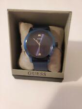 GUESS Men's Blue Diamond Stainless Steel Mesh Bracelet Watch