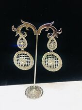 Diamonte Long Earring Silver Colour Clear Stone Dangle Party Wear Earing Crystal