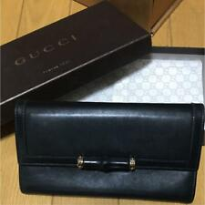 GUCCI Long Bamboo Wallet Color:Black Leather W19.5/W10cm 12-Card Slots