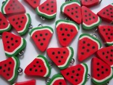 NEW!! 10 GORGEOUS RED MELON CHARMS CLAY FIMO - SAME DAY P&P