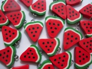 🍉🍉🍉 10 GORGEOUS WATERMELON CHARMS CLAY FIMO 20MM 🍉🍉🍉