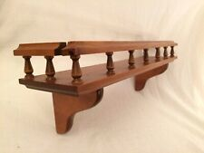 "22"" Long Vintage Wood Wall Shelf w/ Spindle Guard Rail"