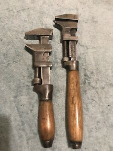 2 x Vintage Adjustable Wrench 🔧Monkey Wrench Wooden Handle - Old Plumbers Tools