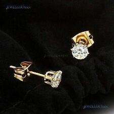 Simulated Stud Yellow Gold Fine Earrings