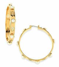 Tory Burch Logo Jewelry Pearl Hoop Earrings Glod 48299