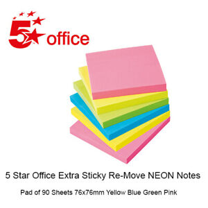Sticky Notes Extra Sticky Re-Move Neon Pad of 90 Sheets 76x76mm 5 Star Office