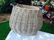 ANTIQUE WASH WICKER CURVE SIDED HESSIAN LINED LOG BASKET.  GORGEOUS