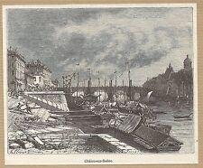 LYON vue de Châlon-sur-Saône gravure ancienne 1884/ B1MB35