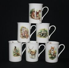 SET OF 6 INDIVIDUAL BRITISH WILDLIFE ANIMALS FINE BONE CHINA  MUGS CUPS BEAKERS