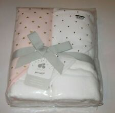 Just Born Sparkle Baby Toddler Hooded Towel Gift Set Pack of 2 Pink & White New