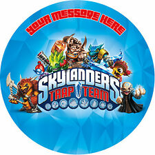 SKYLANDERS TRAPTEAM PERSONALISED EDIBLE ROUND PARTY CAKE DECORATION TOPPER IMAGE