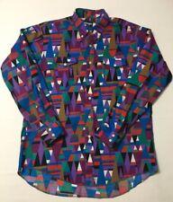 Vtg WRANGLER  Mens Aztec Tribal Abstract Dancing Rodeo Shirt 17x35 48 Chest