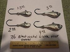 15 Ultra Minnow Jigs Heads 2oz 7/0 black nickel COLOR CHOICE + 1 SPRO SWIVEL