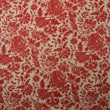 """DURALEE ANANYA RED FLAX FLORAL EXCLUSIVE DESIGNER LINEN FABRIC BY YARD 54""""W"""