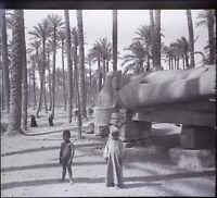 Egipto Estatua Memphis Niños, Negativas Foto Estéreo Vintage Placa Cristal VR5L8