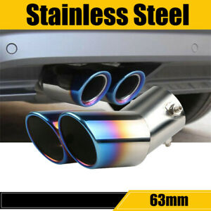 Stainless Car Rear Dual Exhaust Pipe Tail Muffler Tip Throat Tailpipe Blue Burnt