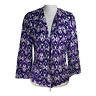 Chico's 0 women's jacket open blazer cotton stretch purple ikat print size small