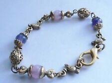 bracelet rétro vintage couleur or déco oiseaux perle mauve et filigrane * 4427