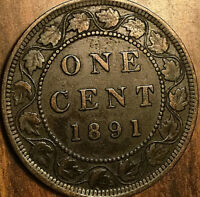 1891 CANADA LARGE CENT PENNY LARGE 1 CENT COIN - LDLL Obverse #2