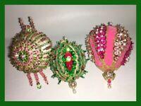 Vintage Christmas Handmade Push Pin Beaded Ornaments - LOT OF 3 ORNAMENTS (H74)