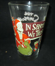 The Simpsons Homer In Santa We Trust Christmas 16 oz Drinking Glass