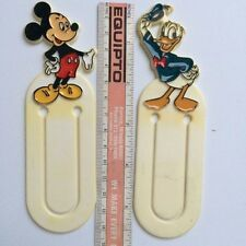 Two Disney Bookmarks-Paperclip Type-Circa 1970 - Mickey & Donald - Plastic 5.5""