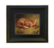Red Fox Oil Painting Print on Canvas Hunting Animal Equestrian Art Home Decor