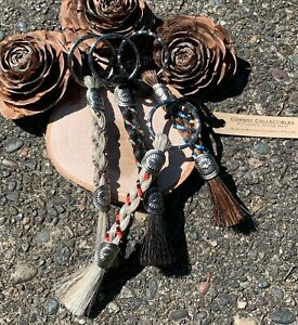 Cowboy Collectibles Braided Horse Hair Key Chain with Beads & Concho Accents NEW