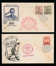 PHILIPPINES 1948 + 1954 SCOUTING ILLUSTRATED FIRST DAY COVERS + SPECIAL CANCELS