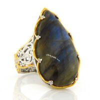 Valitutti Gems En Vogue Silver Gold Pear Labradorite Filigree Crown Ring 7