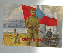 1946 Czechoslovakia Liberation Anniversary Postcard cover Soldier Red Army