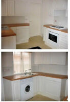 (11) Homebase Amalfi White Fitted Kitchen Units & an Extractor Door