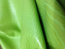 FREE SHIPPING!! Lizard & Reptile pattern embossed green sheep skin hide leather