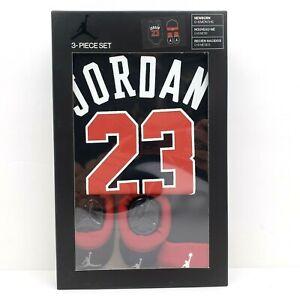 Jordan #23 Newborn Baby Boys 0-6 Months Sock Booties Bodysuit Beanie 3 Piece Set