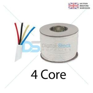 4 Core COPPER Signal Cable for Alarm or Intercom Systems 100m White
