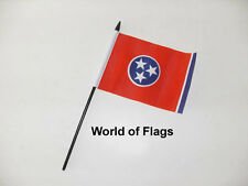 """TENNESSEE SMALL HAND WAVING FLAG 6"""" x 4"""" US USA State Crafts Table Desk Display"""