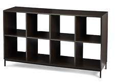8 Cube Shelf Display Storage Organizer Bookcase Furniture W/ Metal Base Espresso