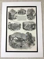 1853 Print South Wales Floods Brecon Beacons Landscape Welsh Antique Original