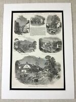 1853 Stampa South Galles Floods Brecon Beacon Landscape Gallese Antico Originale